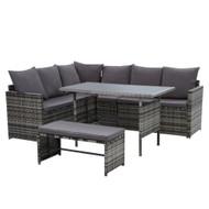 Gardeon Outdoor Furniture Dining Setting Sofa Set Lounge Wicker 8 Seater Mixed Grey
