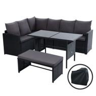 Gardeon Outdoor Furniture Dining Setting Sofa Set Wicker 8 Seater Storage Cover Black