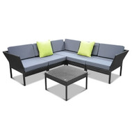 Gardeon 6 Piece Outdoor Wicker Sofa Set S1 - Black