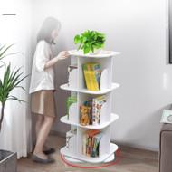 3 Tier Versatile Square Wooden Rotating Swivel Bookshelf Display Shelf White