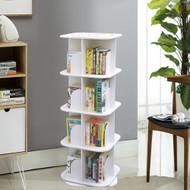 4 Tier Versatile Square Wooden Rotating Swivel Bookshelf Display Shelf White