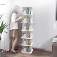 6 Tier Square Wooden Rotating Swivel Bookshelf Display Shelf White