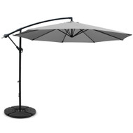 Instahut 3M Umbrella with 48x48cm Base Outdoor Umbrellas Cantilever Sun Beach Garden Patio Grey