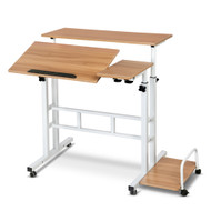 Mobile Twin Laptop Desk - Light Wood D2