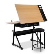 Artiss Tilt Drafting Table Stool Set - Natural & Black