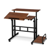 Mobile Twin Laptop Desk - Dark Wood D1