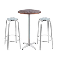 Gardeon Outdoor Bistro Set Bar Table Stools Adjustable Aluminium Cafe 3PC Wood