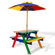 Keezi Kids Wooden Picnic Table Set with Umbrella P1