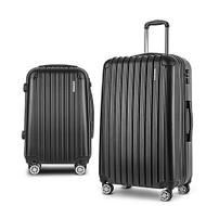 Wanderlite 2 Piece Lightweight Hard Suit Case Luggage Black S1