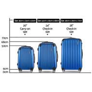 Wanderlite 3 Piece Lightweight Hard Suit Case Luggage Blue