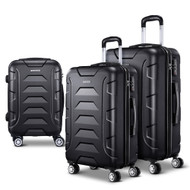 Wanderlite 3PCS Carry On Luggage Sets Suitcase TSA Travel Hard Case Lightweight Black
