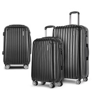 Wanderlite 3 Piece Lightweight Hard Suit Case Luggage Black LC