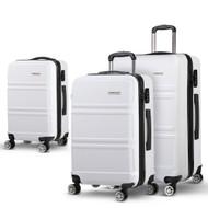 Wanderlite 3 Piece Lightweight Hard Suit Case Luggage White LW