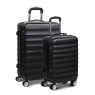 Wanderlite 2 Piece Lightweight Hard Suit Case Luggage Black SC