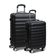 Wanderlite 2 Piece Lightweight Hard Suit Case Luggage Black SC
