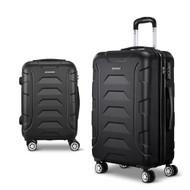 Wanderlite 2PCS Carry On Luggage Sets Suitcase TSA Travel Hard Case Lightweight Black