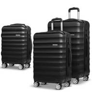 Wanderlite 3 Piece Lightweight Hard Suit Case Luggage Black LB