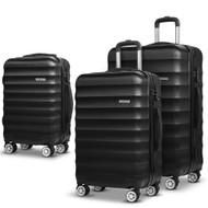 Wanderlite 3 Piece Lightweight Hard Suit Case Luggage Black LB