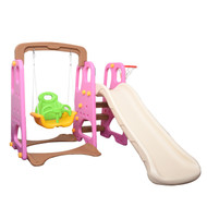 3-IN-1 Kids Swing Slide & Basketball Activity Set Pink White