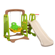 3-IN-1 Kids Swing Slide & Basketball Activity Set Green White