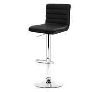 Artiss 2x Leather Bar Stools ARNE Swivel Bar Stool Kitchen Chairs Black Gas Lift Black