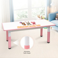 120x60cm Kids Height Adjustable Whiteboard Drawing Table Desk Pink