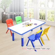 120x60cm Kids Blue Whiteboard Drawing Table & 4 Mixed Chairs