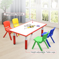 120x60cm Kids Red Whiteboard Drawing Table & 4 Mixed Chairs