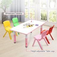 120x60cm Kids Pink Whiteboard Drawing Table & 4 Mixed Chairs