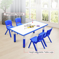 120x60cm Kids Blue Whiteboard Drawing Table & 4 Blue Chairs