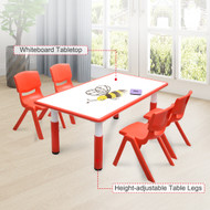 120x60cm Kids Red Whiteboard Drawing Table & 4 Red Chairs
