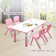 120x60cm Kids Pink Whiteboard Drawing Table & 4 Pink Chairs