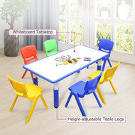 120x60cm Kids Blue Whiteboard Drawing Table & 6 Mixed Chairs