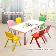 120x60cm Kids Pink Whiteboard Drawing Table & 6 Mixed Chairs