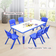 120x60cm Kids Blue Whiteboard Drawing Table & 6 Blue Chairs