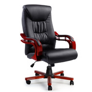 Artiss Executive Wooden Office Chair Wood Computer Chairs Leather Seat Sheridan