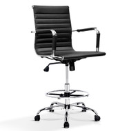 Artiss Office Chair Veer Drafting Stool Mesh Chairs Armrest Standing Desk Black