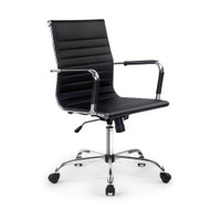 Eames Replica Office Chair Executive Mid Back Seating PU Leather Black PB