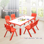 120x60cm Kids Red  Whiteboard Drawing Table & 6 Red Chairs