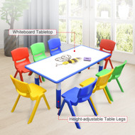 120x60cm Kids Blue Whiteboard Drawing Table & 8 Mixed Chairs