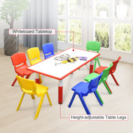 120x60cm Kids Red  Whiteboard Drawing Table & 8 Mixed Chairs