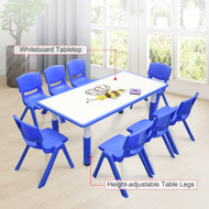 120x60cm Kids Blue Whiteboard Drawing Table & 8 Blue Chairs
