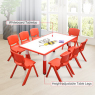 120x60cm Kids Red  Whiteboard Drawing Table & 8 Red Chairs