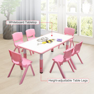 120x60cm Kids Pink Whiteboard Drawing Table & 6 Pink Chairs