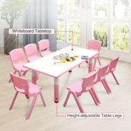 120x60cm Kids Pink Whiteboard Drawing Table & 8 Pink Chairs