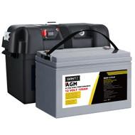 Giantz 100Ah Deep Cycle Battery & Battery Box 12V AGM Marine Sealed Power Solar Caravan 4WD Camping