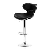 Artiss 2x Bar Stools DINO Kitchen Swivel Bar Stool Leather Gas Lift Chairs Black