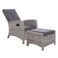 Sun lounge Recliner Chair Wicker Lounger Sofa Day Bed Outdoor Furniture Patio Garden Cushion Ottoman Grey Gardeon