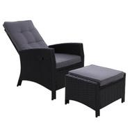 Sun lounge Recliner Chair Wicker Lounger Sofa Day Bed Outdoor Furniture Patio Garden Cushion Ottoman Black Gardeon?0