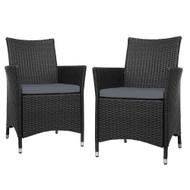 Outdoor Bistro Set Chairs Patio Furniture Dining Wicker Garden Cushion x2 Gardeon